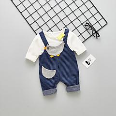 billige Sett med babyklær-Baby Pige Vintage / Basale I-byen-tøj Stribet Drapering Langærmet Bomuld Tøjsæt