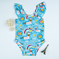 billige Badetøj til piger-Børn Pige Ensfarvet / Geometrisk Badetøj
