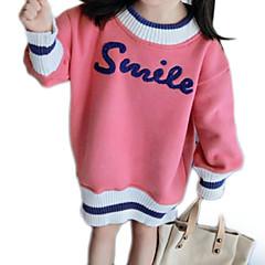 billige Hættetrøjer og sweatshirts til piger-Børn Pige Basale Daglig Ensfarvet / Trykt mønster Langærmet Normal Polyester Hættetrøje og sweatshirt Lyserød 100