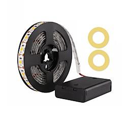billiga Dekorativ belysning-zdm 200cm / 6,56ft vattentät 5050 smd ledde varmvit / kall vit / röd / blå / grön bandlampa aa batteridriven ledad strålkastare dc5.5v