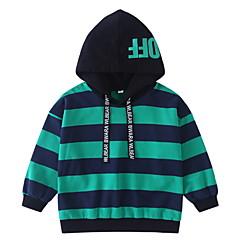 billige Hættetrøjer og sweatshirts til drenge-Børn Drenge Basale Stribet Langærmet Bomuld / Polyester Hættetrøje og sweatshirt Grøn