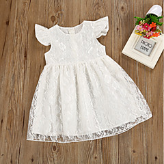 billige Babykjoler-Baby Pige Basale Hvid Ensfarvet Blonder / Patchwork Uden ærmer Bomuld Kjole