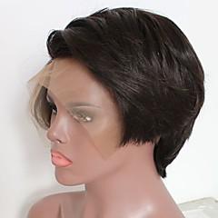 billiga Peruker och hårförlängning-Remy-hår Spetsfront Peruk Brasilianskt hår Kroppsvågor Peruk Bob-frisyr / Frisyr i lager 130% Naturlig hårlinje / Mittbena / Sidodel Naturlig Dam Korta Äkta peruker med hätta / Afro-amerikansk peruk