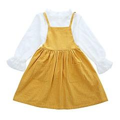 billige Tøjsæt til piger-Børn Pige Basale Skole Ensfarvet / Stribet Langærmet Bomuld Tøjsæt