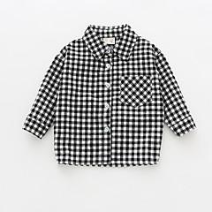 billige Babyoverdele-Baby Pige Vintage Houndstooth mønster Langærmet Bomuld Skjorte Sort 80