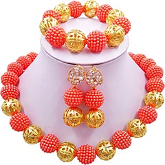 baratos Conjuntos de Bijuteria-Mulheres Fio Único Conjunto de jóias - MOON Fashion Incluir Colar Verde / Rosa claro / Rosa Para Casamento