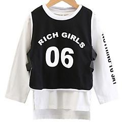 billige Pigetoppe-Børn Pige Ensfarvet / Geometrisk Langærmet Bluse