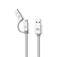 Χαμηλού Κόστους Αξεσουάρ Ήχου & Βίντεο-MEIZU USB 2.0 Τύπος C / Micro USB 2.0 Καλώδιο, USB 2.0 Τύπος C / Micro USB 2.0 to USB 2.0 Καλώδιο Αρσενικό - Θηλυκό 1.0m (3ft)