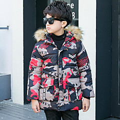 billige Jakker og frakker til drenge-Børn Drenge Aktiv / Gade I-byen-tøj Trykt mønster / Patchwork Patchwork Langærmet Lang dun- og bomuldsforet