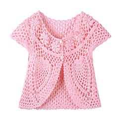 billige Sweaters og cardigans til piger-Baby Pige Basale Ensfarvet Kortærmet Trøje og cardigan