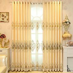 baratos Tratamentos para Janelas-Sólida Cortinas cortinas Dois Painéis 2*(W140cm×L259cm) Amarelo / Bordado / Quarto