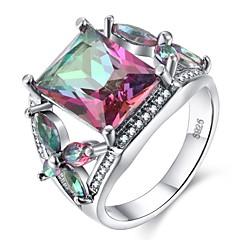 billige Motering-Dame Kubisk Zirkonium Elegant Ring - S925 Sterling Sølv Fargerik 6 / 7 / 8 / 9 / 10 Regnbue Til Fest Gave