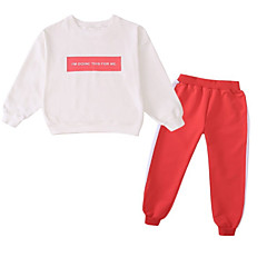 billige Tøjsæt til piger-Børn Pige Stribet / Geometrisk Langærmet Tøjsæt