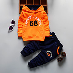 billige Tøjsæt til drenge-Børn Drenge Aktiv Daglig / I-byen-tøj Trykt mønster Langærmet Normal Bomuld / Akryl Tøjsæt Orange 100