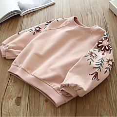 billige Hættetrøjer og sweatshirts til piger-Børn Pige Basale Blomstret Langærmet Bomuld Hættetrøje og sweatshirt Gul 100