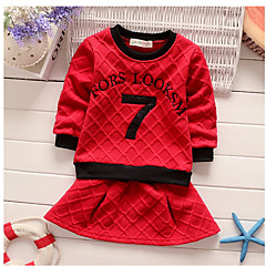 billige Sett med babyklær-Baby Pige Ensfarvet Langærmet Tøjsæt