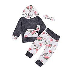 billige Babytøj-Baby Pige Afslappet / Basale Fest / Ferie Blomstret Trykt mønster Langærmet Normal Normal Bomuld Tøjsæt Grå