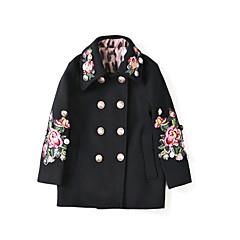tanie Odzież dla dziewczynek-Dzieci Dla dziewczynek Solidne kolory / Kolorowy blok Długi rękaw Kurtka / płaszcz