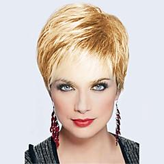 cheap Wigs & Hair Pieces-Human Hair Capless Wigs Human Hair Straight Layered Haircut Dark Roots / Side Part / With Bangs Silver / Black / Blonde Short Wig Women's