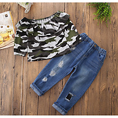 billige Tøjsæt til piger-Børn Pige Ensfarvet / Farveblok Langærmet Tøjsæt