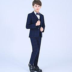 tanie Odzież dla chłopców-Dzieci Dla chłopców Podstawowy Prążki Długi rękaw Poliester Komplet odzieży Niebieski 140