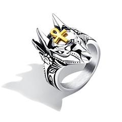 billige Motering-Herre Gull Skulptur Statement Ring Ring - Titanium Stål Kors, Totem Serier Punk, trendy, Rock 7 / 8 / 9 / 10 / 11 Sølv Til Gate Bar / 8pcs