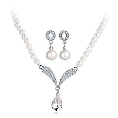 baratos Conjuntos de Bijuteria-Mulheres Clássico Conjunto de jóias - Imitação de Pérola Elegante Incluir Colar Brinco Branco Para Festa de Noite Festival