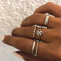 billige Motering-Dame Retro Knokering Ring Set Multi-fingerring - Harpiks, Fuskediamant Clover Vintage, Punk, Bohem 8 Gull / Sølv Til Gave Daglig Gate / 5pcs