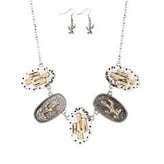baratos Conjuntos de Bijuteria-Mulheres Longas Conjunto de jóias - Desenho, Boho, Estilo Folk Incluir Brincos Compridos Colares com Pendentes Dourado / Prata Para Noivado Cerimônia
