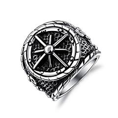 billige Motering-Herre Skulptur Band Ring Statement Ring Ring - Titanium Stål Anker Stilfull, Klassisk, Punk 7 / 8 / 9 / 10 / 11 Sølv Til Gate Klubb