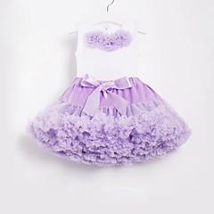 billige Tøjsæt til piger-Børn / Baby Pige Vintage / Boheme Skole / Strand Blomstret Sløjfer / Lag-på-lag / Drapering Uden ærmer Normal Bomuld / Nylon Tøjsæt Lilla / Net