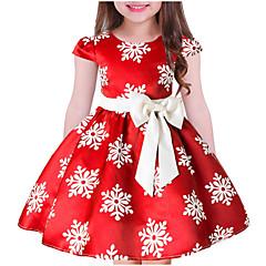 billige Pigekjoler-Børn Pige Sød Jul Blomstret Kortærmet Kjole Blå 140