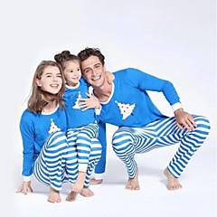 billige Sett med familieklær-Familie Look Grunnleggende Jul / Daglig Stripet Langermet Polyester Tøysett Lyseblå Jenter 110