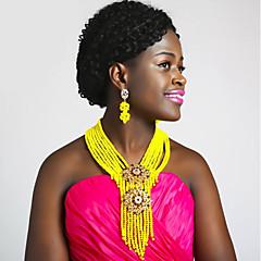 baratos Conjuntos de Bijuteria-Mulheres Camadas Conjunto de jóias - Cristal Austríaco Fashion Incluir Strands Necklace Vermelho / Rosa / Champanhe Para Casamento / Brincos