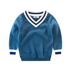 billige Overdele til drenge-Børn Drenge Blå & Hvid Ensfarvet Langærmet Bluse