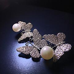 billige Motebrosjer-Dame Kubisk Zirkonium Klassisk Nåler - Perle, Sølvplett Sommerfugl damer, Koreansk Brosje Smykker Sølv Til Daglig