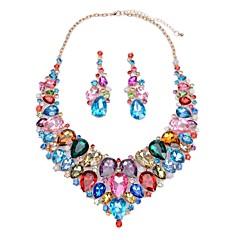 baratos Conjuntos de Bijuteria-Mulheres Sapphire sintético Conjunto de jóias - Caído Estiloso, Clássico, Hipérbole Incluir Brincos Compridos Colar Azul Escuro / Arco-íris / Vermelho Para Casamento Festa