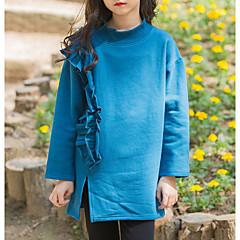 billige Hættetrøjer og sweatshirts til piger-Børn Pige Aktiv Ensfarvet Langærmet Lang Polyester Hættetrøje og sweatshirt Grøn 140