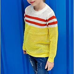 billige Sweaters og cardigans til piger-Børn Pige Basale Daglig Ensfarvet Langærmet Bomuld Trøje og cardigan Gul