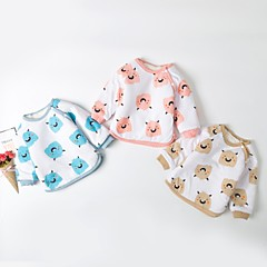 billige Babyoverdele-Baby Pige Aktiv / Basale Daglig Sort & Rød Patchwork Patchwork Langærmet Lang Bomuld / Lammeuld Bluse Blå