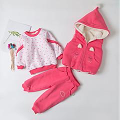 billige Sett med babyklær-Baby Pige Aktiv / Basale Daglig Sort & Rød Patchwork Patchwork Langærmet Lang Lang Bomuld / Lammeuld Tøjsæt Rød 80