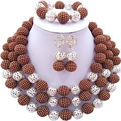 baratos Conjuntos de Bijuteria-Mulheres Camadas Conjunto de jóias - Fashion Incluir Strands Necklace Azul / Rosa claro / Rosa Para Diário