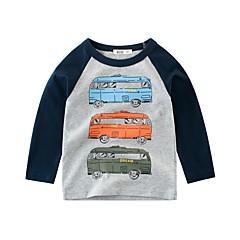 billige Overdele til drenge-Børn Drenge Sort og hvid Trykt mønster Langærmet Bluse