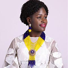 baratos Conjuntos de Bijuteria-Mulheres Camadas Conjunto de jóias - Cristal Austríaco Fashion Incluir Strands Necklace Azul / Rosa / Champanhe Para Casamento / Brincos