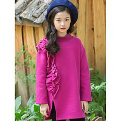billige Hættetrøjer og sweatshirts til piger-Børn Pige Aktiv Ensfarvet Langærmet Lang Polyester Hættetrøje og sweatshirt Grøn