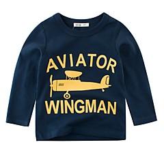 billige Overdele til drenge-Børn Drenge Basale Ensfarvet / Geometrisk Langærmet Polyester Bluse Blå 110
