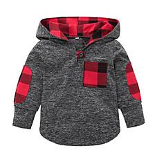 billige Hættetrøjer og sweatshirts til babyer-Baby Pige Vintage Ensfarvet Langærmet Akryl / Polyester Hættetrøje og sweatshirt Hvid