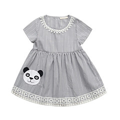 cheap Girls' Dresses-Toddler Girls' Active Daily Striped / Color Block Pleated Short Sleeve Knee-length Polyester Dress Gray