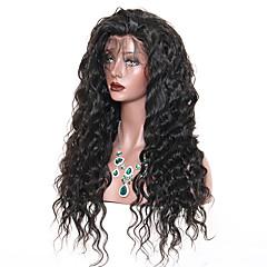 billiga Peruker och hårförlängning-Äkta hår Spetsfront Peruk Brasilianskt hår Löst vågigt Peruk Deep Parting 250% Hårtäthet Gåva Heta Försäljning Bekväm Naturlig Dam Lång Äkta peruker med hätta Dolago