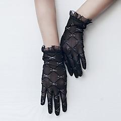 Χαμηλού Κόστους Γάντια για πάρτι-Δαντέλα / Τούλι Μέχρι τον καρπό Γάντι Πεπαλαιωμένο Στυλ / Γάντια Με Λευκός φιόγκος / Εμπριμέ / Παγιέτες